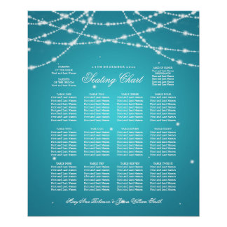 Wedding Seating Chart Sparkling String Turquoise