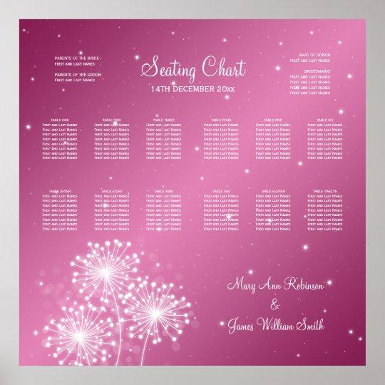 Wedding Seating Chart Summer Sparkle Rose Pink