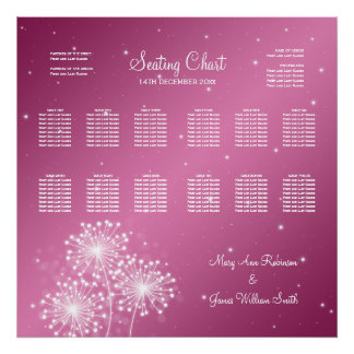 Wedding Seating Chart Summer Sparkle Rose Pink Posters