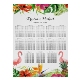 Wedding Seating Chart | Tropical Floral Flamingo