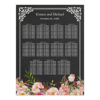 Wedding Seating Chart Vintage Floral Chalkboard Poster