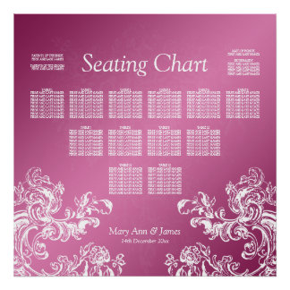 Wedding Seating Chart Vintage Swirls 2 Pink Posters