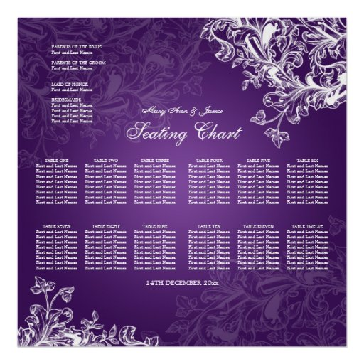 Wedding Seating Chart Vintage Swirls Purple Posters