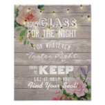 Wedding Seating Glass For The Night Find Your Seat Poster