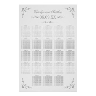 Wedding Seating Poster | Silver Flourish