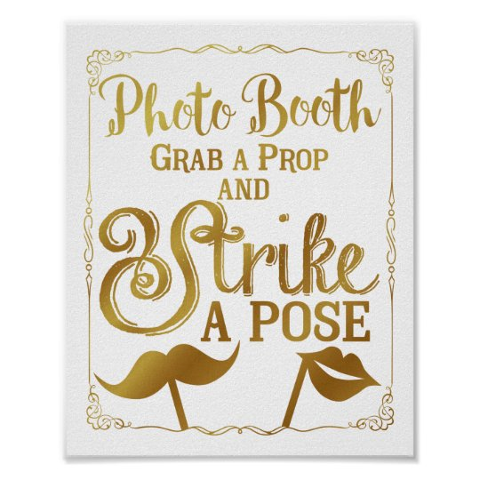 Wedding selfie photo booth sign elegant gold