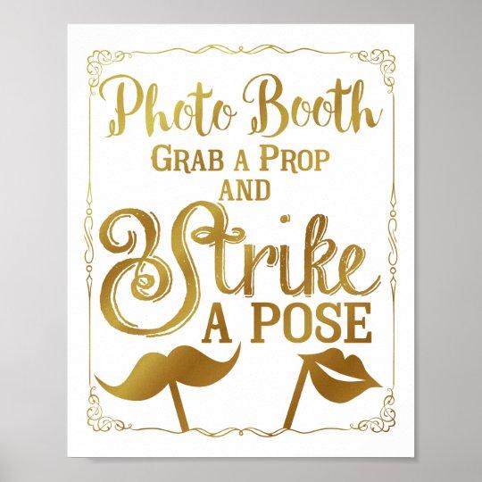 Wedding selfie photo booth sign elegant gold poster