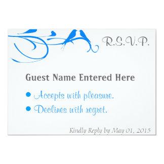 Wedding Set - Flourish - Blue Bird 13 Cm X 18 Cm Invitation Card
