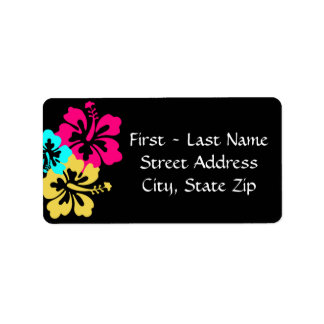 Wedding Set - Hibiscus Colorful Flowers Address Label