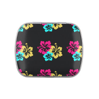 Wedding Set - Hibiscus Colorful Flowers Candy Tin