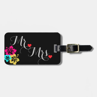 Wedding Set - Hibiscus Colorful Flowers Luggage Tag