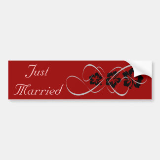 Wedding Set - Hibiscus Flourish Black Red Bumper Sticker