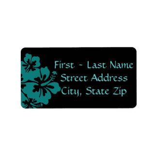 Wedding Set - Hibiscus Teal Flowers Address Label