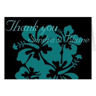 Wedding Set - Hibiscus Teal Flowers Greeting Card