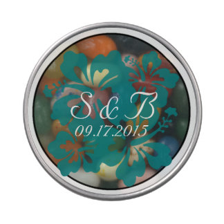 Wedding Set - Hibiscus Teal Flowers Jelly Belly Candy Tins