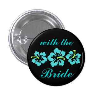 Wedding Set - Tropical - Hibiscus Blue 3 Cm Round Badge