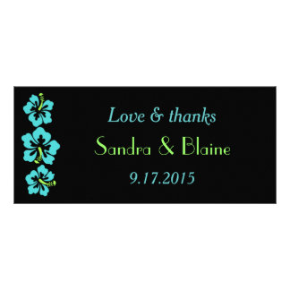Wedding Set - Tropical - Hibiscus Blue Customized Rack Card
