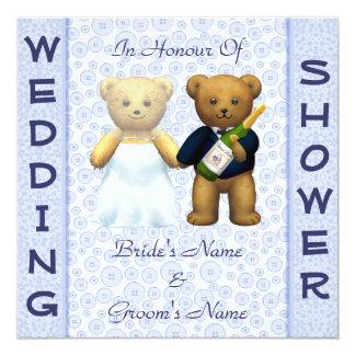 Wedding shower Blue Teddy Bears invitation