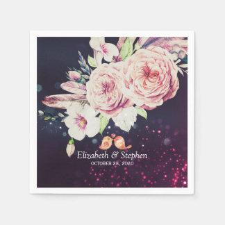 Wedding Shower Boho Floral Feather & Purple Lights Disposable Napkin