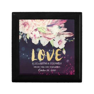 Wedding Shower Boho Floral Feather & Purple Lights Gift Box