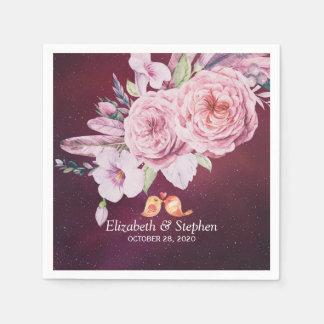 Wedding Shower Boho Floral Feathers Burgundy Red Paper Napkin