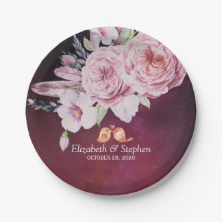 Wedding Shower Boho Floral Feathers Burgundy Red Paper Plate