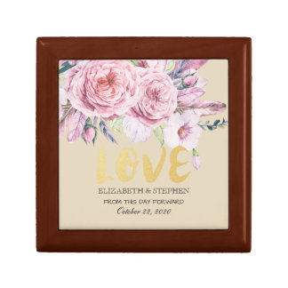 Wedding Shower Chic Watercolor Boho Floral Feather Gift Box