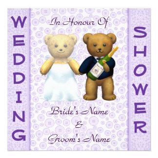 Wedding shower lilac Teddy Bears invitation