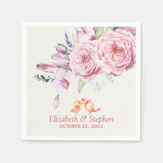 Wedding Shower Watercolor Boho Floral Feather Disposable Serviette