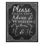 Wedding sign advice and well wishes new Mr & Mrs Poster