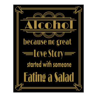 Wedding sign Alcohol Gold and black Poster