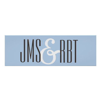 Wedding Sign banner with initials Poster