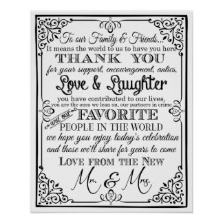 wedding sign black and white thank you sign