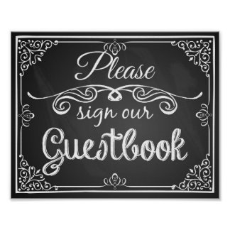 "Wedding sign chalkboard ""Guest book"""
