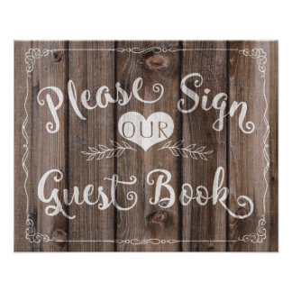 "Wedding sign chalkboard ""Guest book"" custom color Poster"