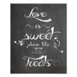 Wedding sign Chalkboard style  love is sweet Photograph