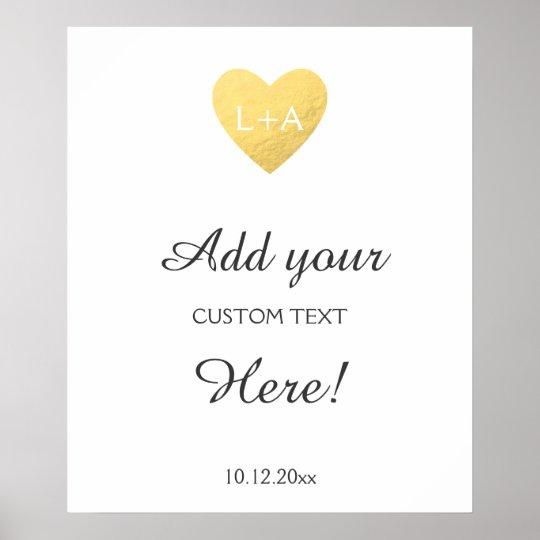 Wedding sign custom text, faux gold heart template