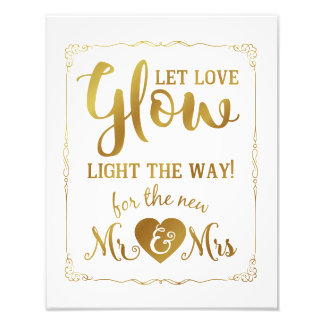 wedding sign, glow sticks, wedding, black photo print