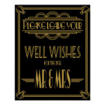 Wedding sign Gold and black wishes sign Poster