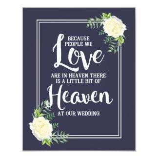 wedding sign, heaven at wedding, floral rose photo print