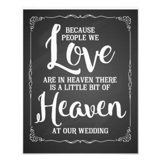 wedding sign, heaven at wedding, vintage chalk photo print