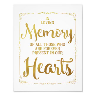 wedding sign, loving memory wedding, gold photo
