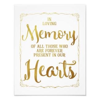 wedding sign, loving memory wedding, gold photo print