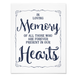wedding sign, loving memory wedding, navy nautical photograph