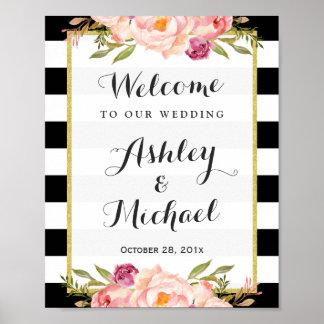 Wedding Sign | Modern Floral Black White Stripes