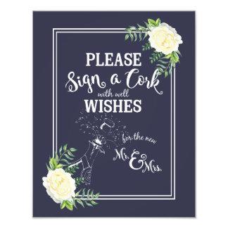wedding sign, please sign a cork, floral rose