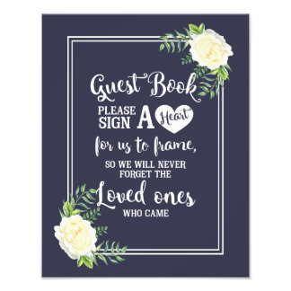 wedding sign, please sign a heart, floral rose