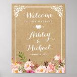 Wedding Sign | Rustic Floral Vintage Frame Kraft