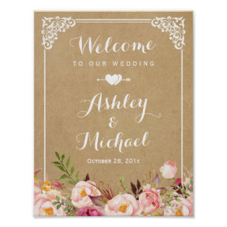 Wedding Sign | Rustic Floral Vintage Frame Kraft