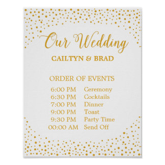 Wedding Sign – Schedule Confetti Wedding Sign